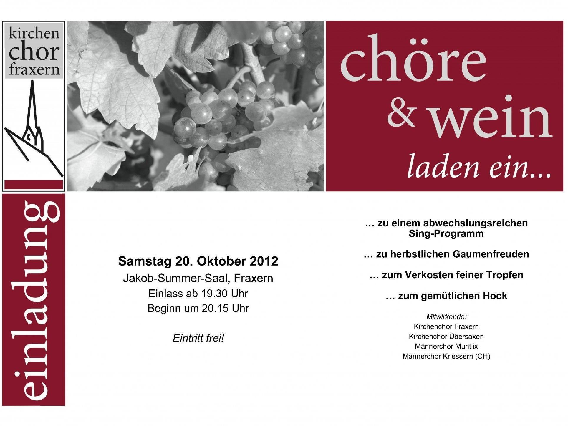 Kommenden Samstag, 20. Oktober ab 20.15 im Jakob-Summer-Saal: Ein besonderes Konzert verschiedener Chöre.