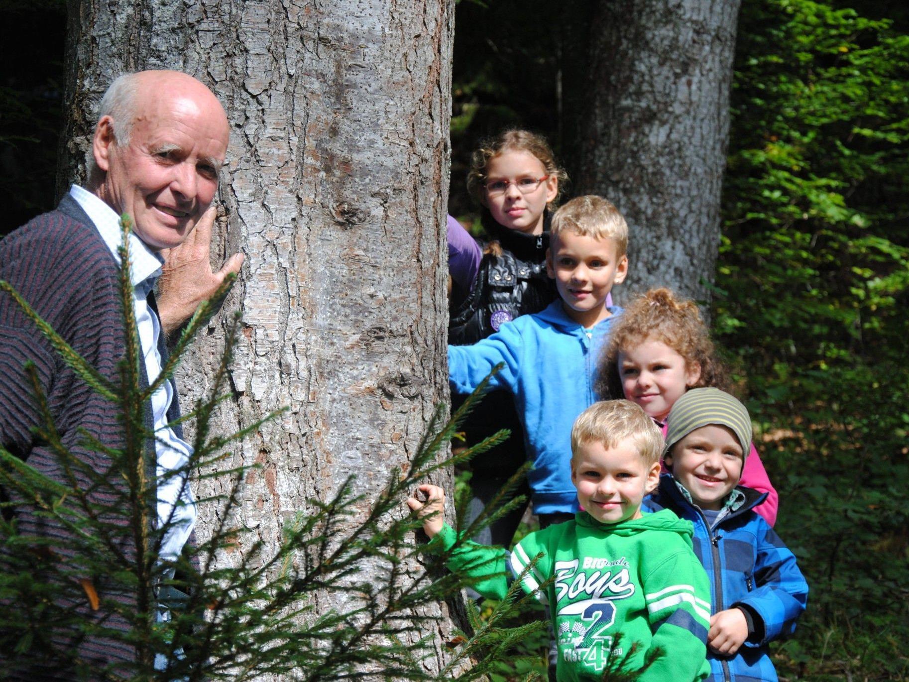 Großeltern und Enkel können gemeinsam den Lebensraum Wald entdecken.