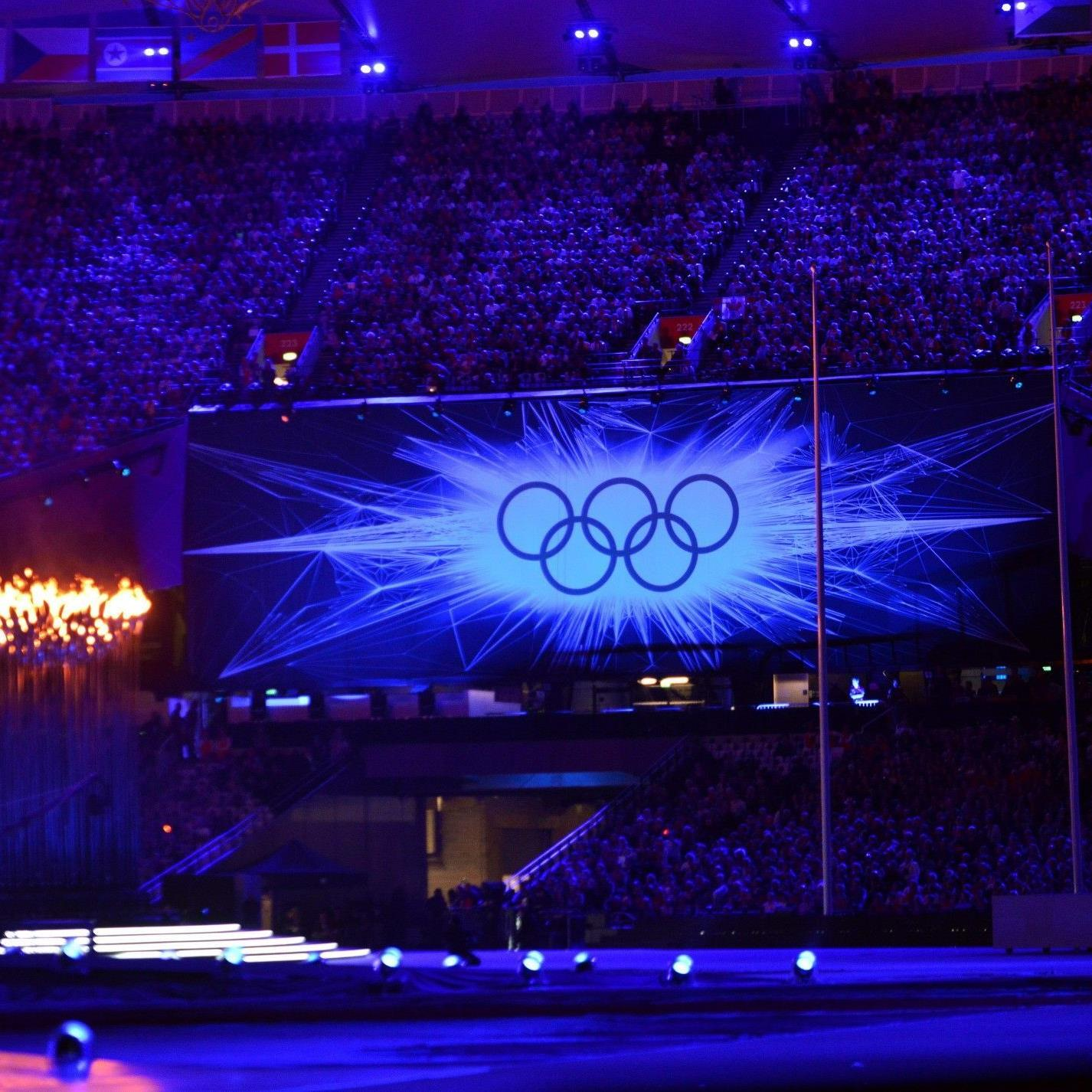 Die olympischen Ringe während der Olympiade in London 2012.