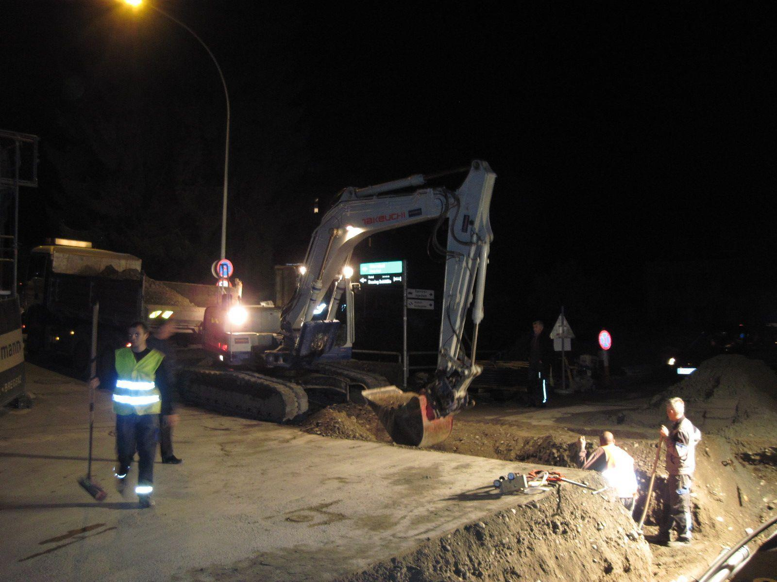 Nachteinsatz bei Verlegung der Hauptwasserleitung