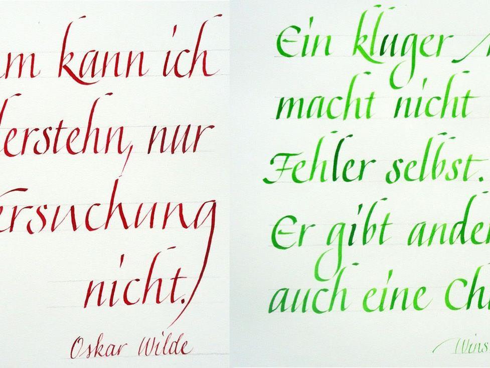 Kunstvolle Schriftzüge beim Kurs der VHS Bregenz in Höchst