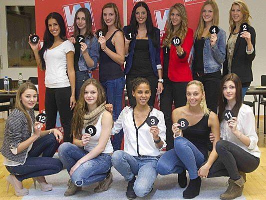 Die zwölf Kandidatinnen für die Misswahl 2013.