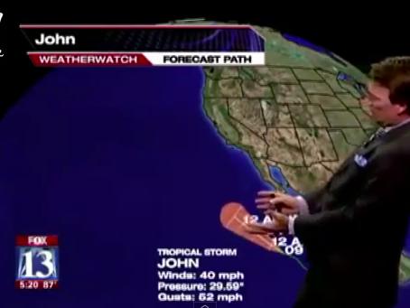 Dieser Wettermoderator verrichtet seine Arbeit mit voller Hingabe