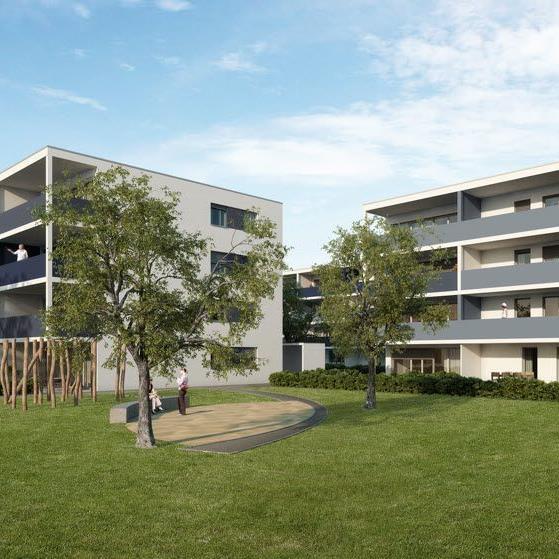 Am Schäfferhof in Hard entsteht ein lebendiges Quartier mit Eigentumswohnungen, Mietwohnungen, Lebensmittelhändler und einem öffentlichen Erlebnisspielplatz.