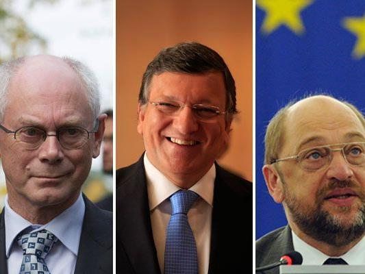 Ratspräsident Herman Van Rompuy, Kommissionspräsident Jose Manuel Barroso, Parlamentspräsident Martin Schulz.