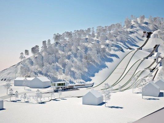 In Tschagguns ist am Standort der früheren Zelfenschanze eine moderne Skisprunganlage geplant. - © VLK
