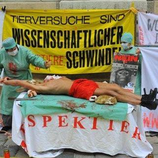 Tierschutzaktion der sehr anschaulichen Art am Montag in Wien.