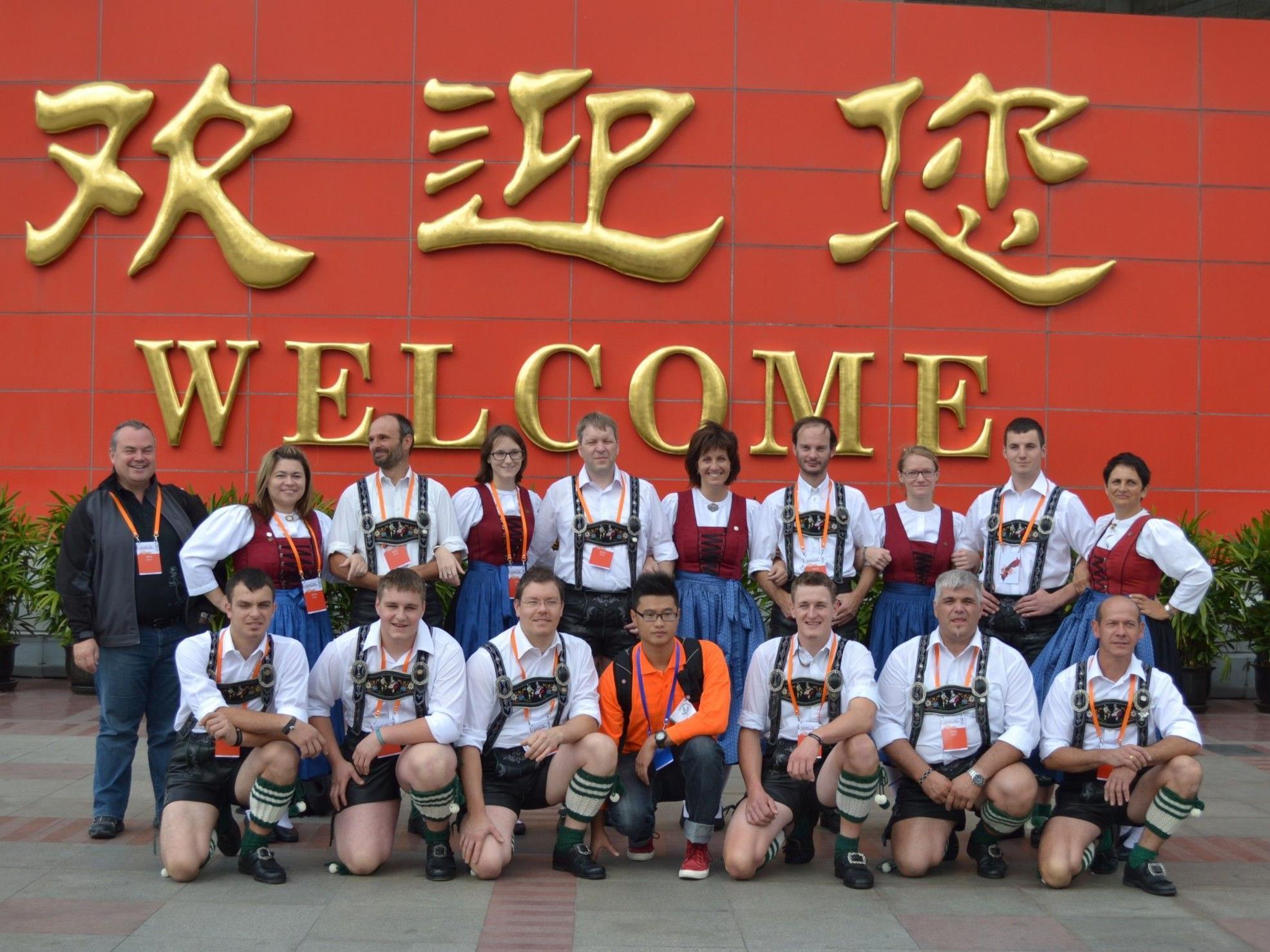 Die Schuhplattlergruppe Zwischenwasser erreichte beim Folk Sports Festival in Shanghai den ersten Platz.