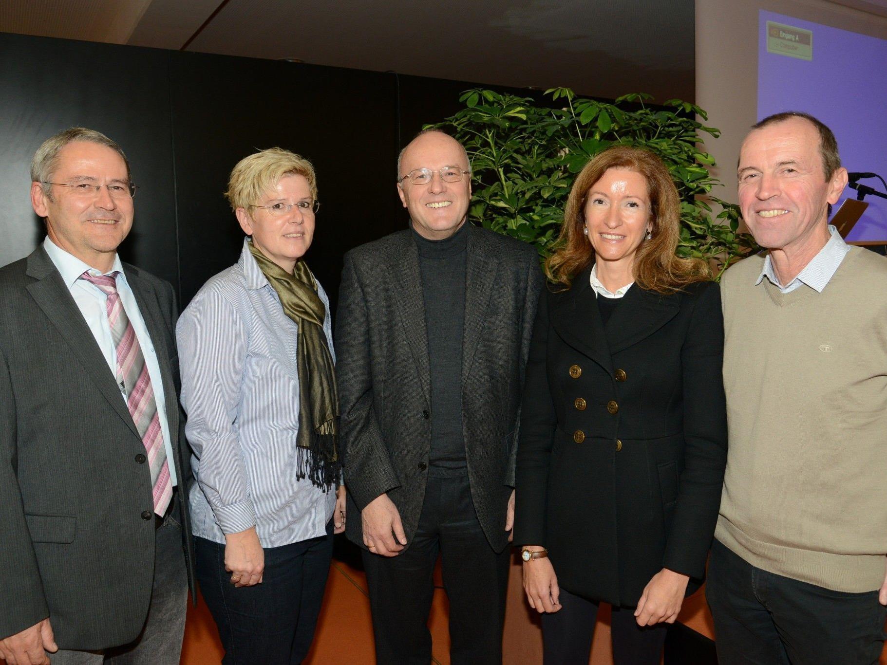 Dir-Stv. Mag. Peter Hutter, Dr. Kriemhild Büchel-Kapeller, Univ.-Prof. Dr. Reinhard Haller, Dr. Nadja Rhomberg, Dir. Mag. Thomas Mittelberger.