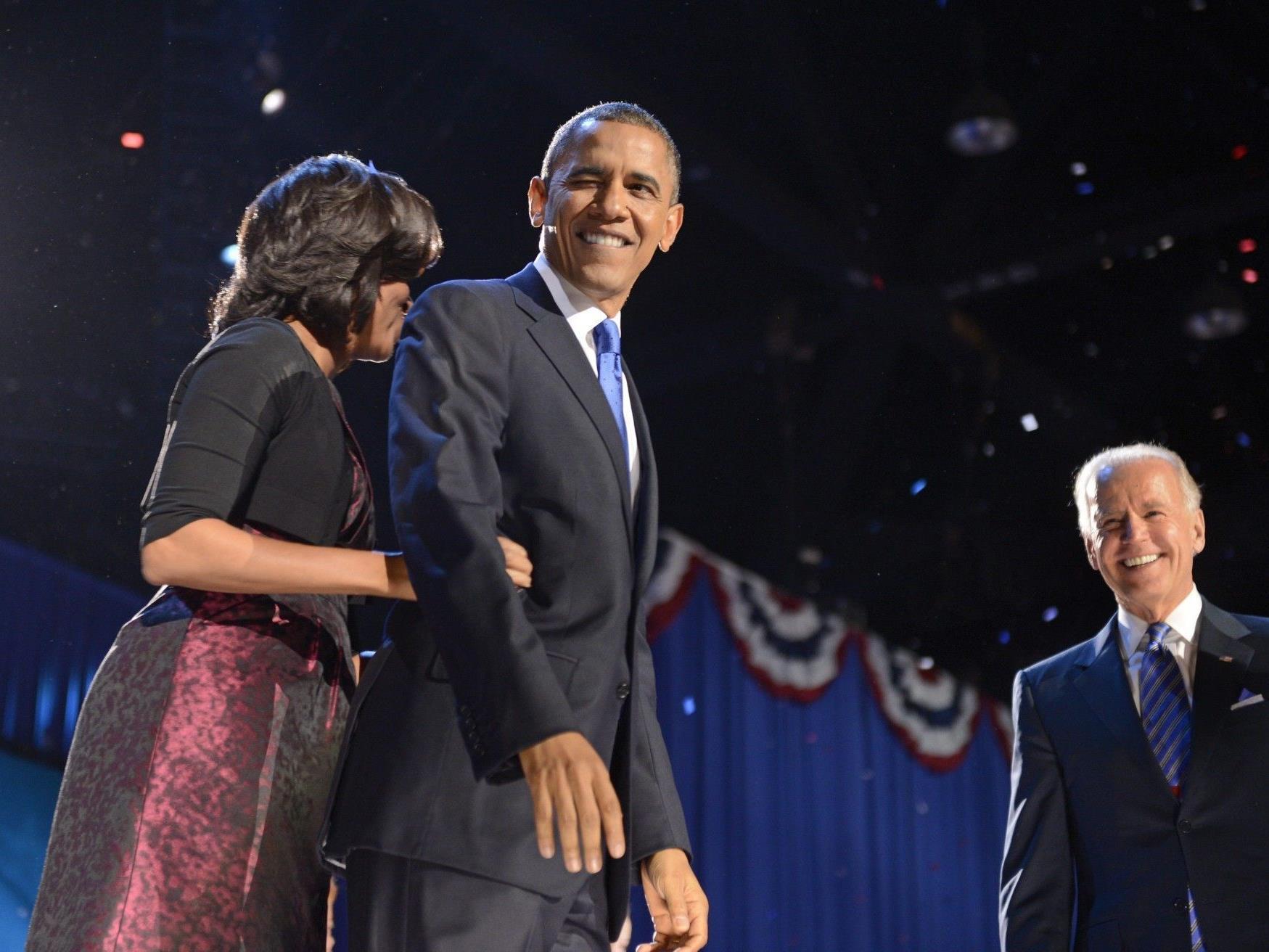 """""""Four more years"""": Obama erklärt sich zum Sieger."""