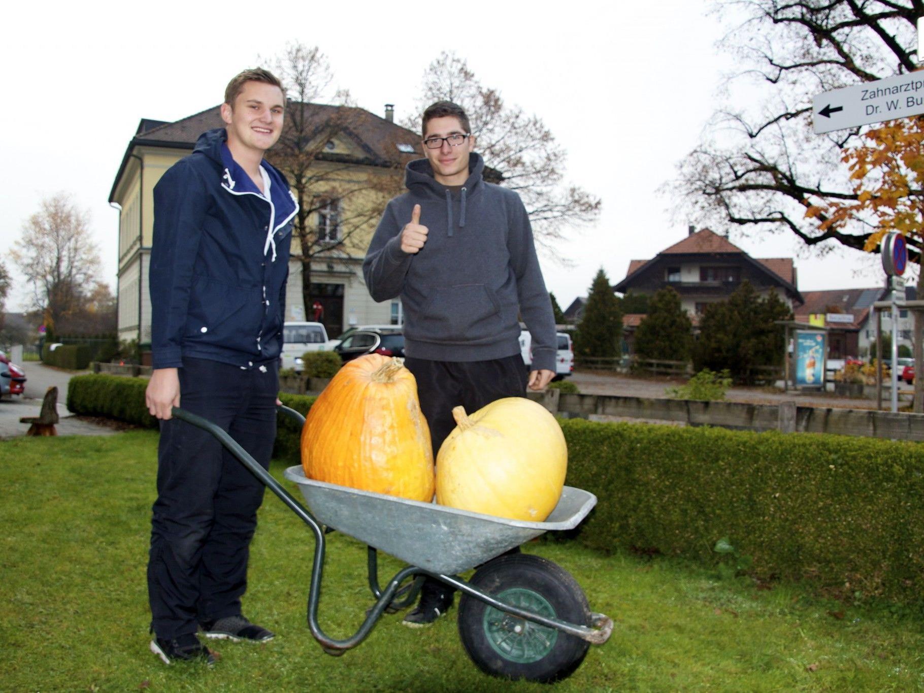Adrian Moosbrugger und Emanuel Reiner sind stolz auf ihre Kürbisse, die sie im Hausgarten präsentieren