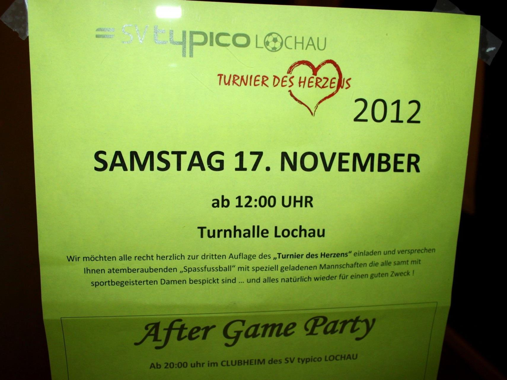 """Einladung zum """"Turnier des Herzens 2012"""", ein Spaßfußballturnier für einen guten Zweck."""