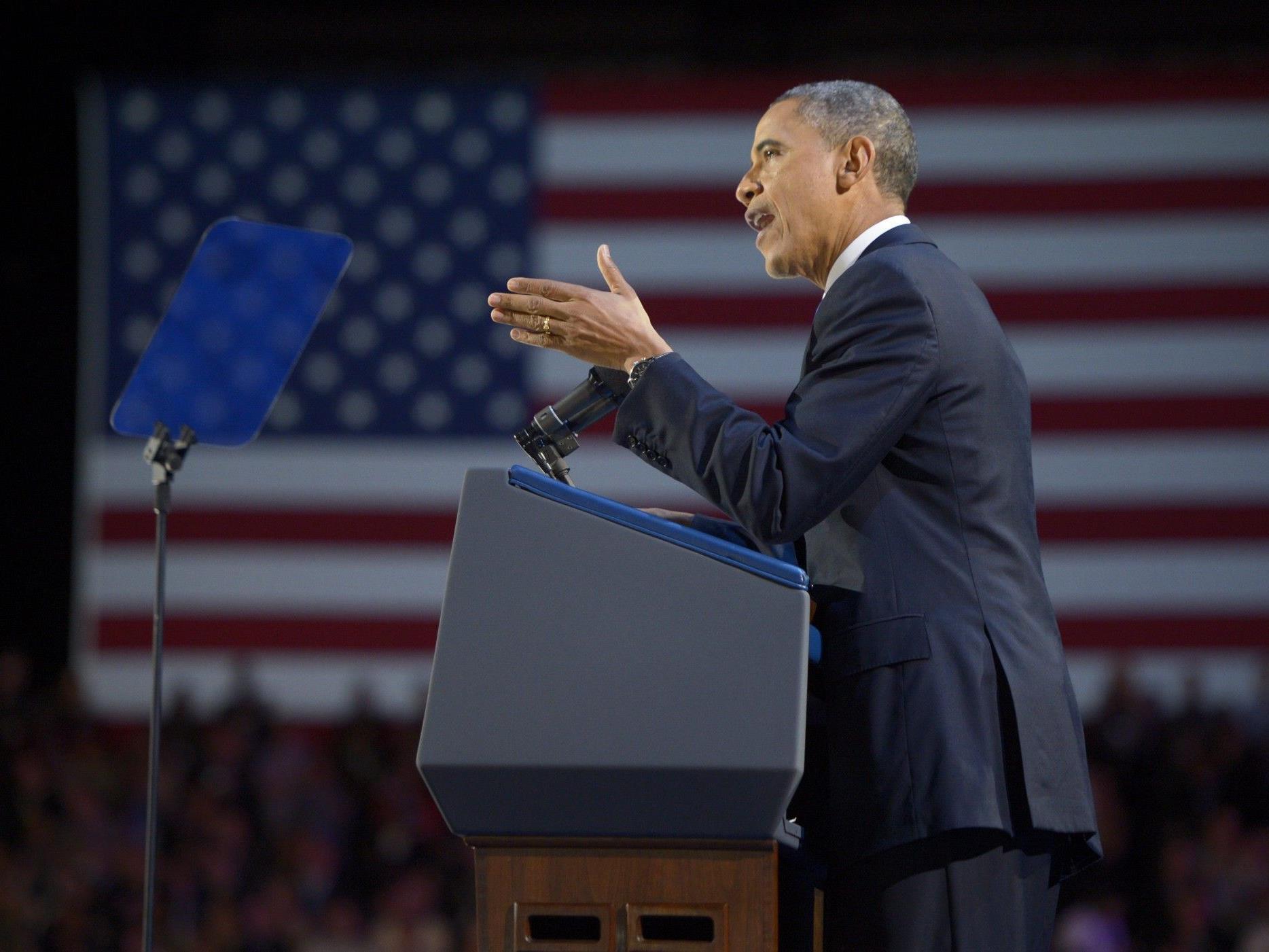 """Obama in seiner Dankesrede: """"Ihr habt mich zu einem besseren Präsidenten gemacht""""."""