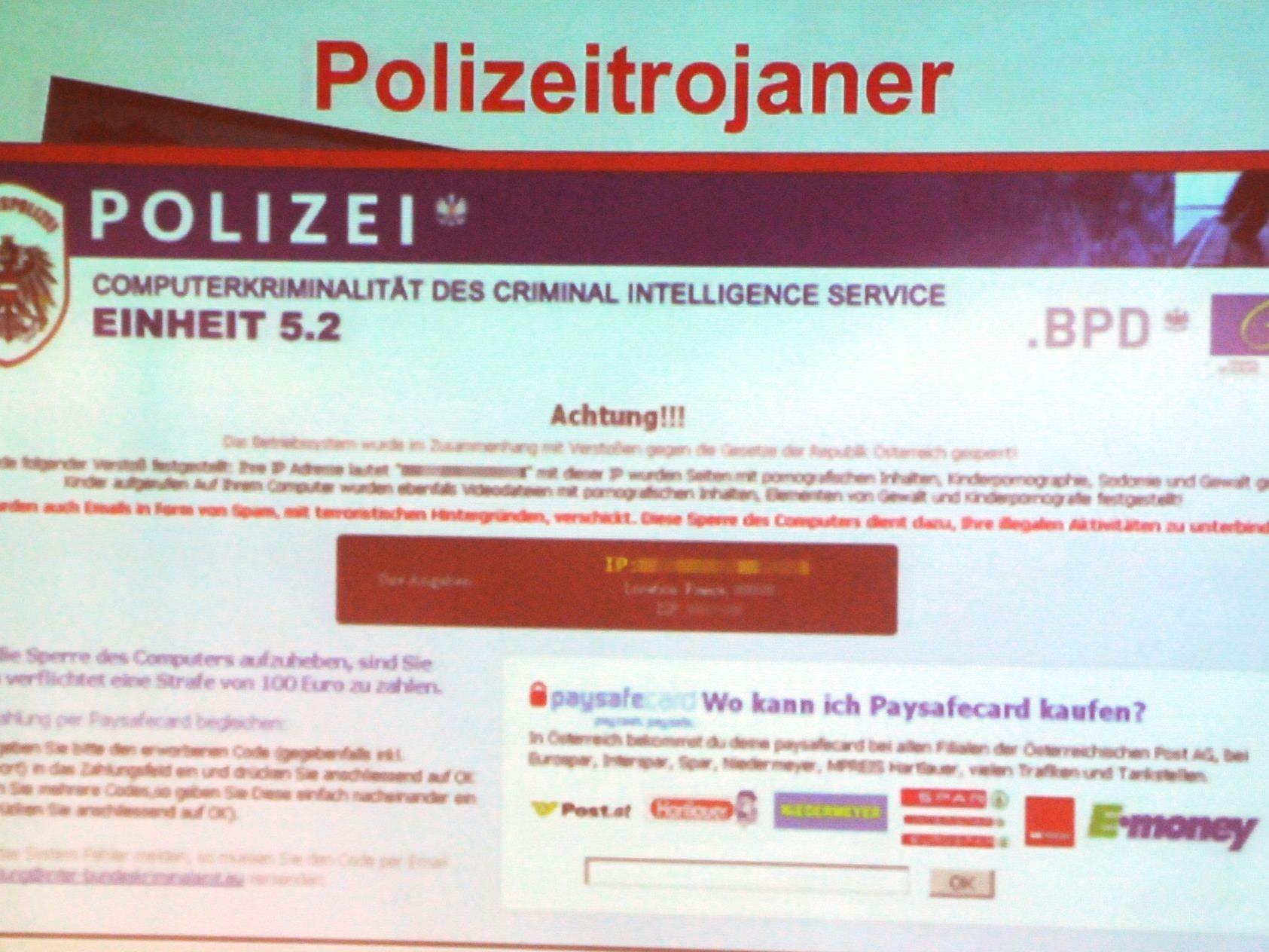 """Per E-Mail verschicken Betrüger schädliche Computerviren wie den """"Polizei-Trojaner""""."""