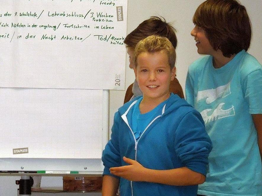 Die Schüler bei einer Präsentation