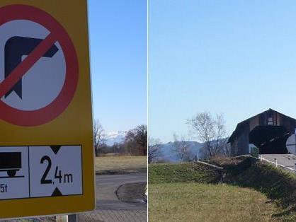 Auf der Senderstraße von Lauterach kommend war bei der Holzbrücke für den Bus Endstation.