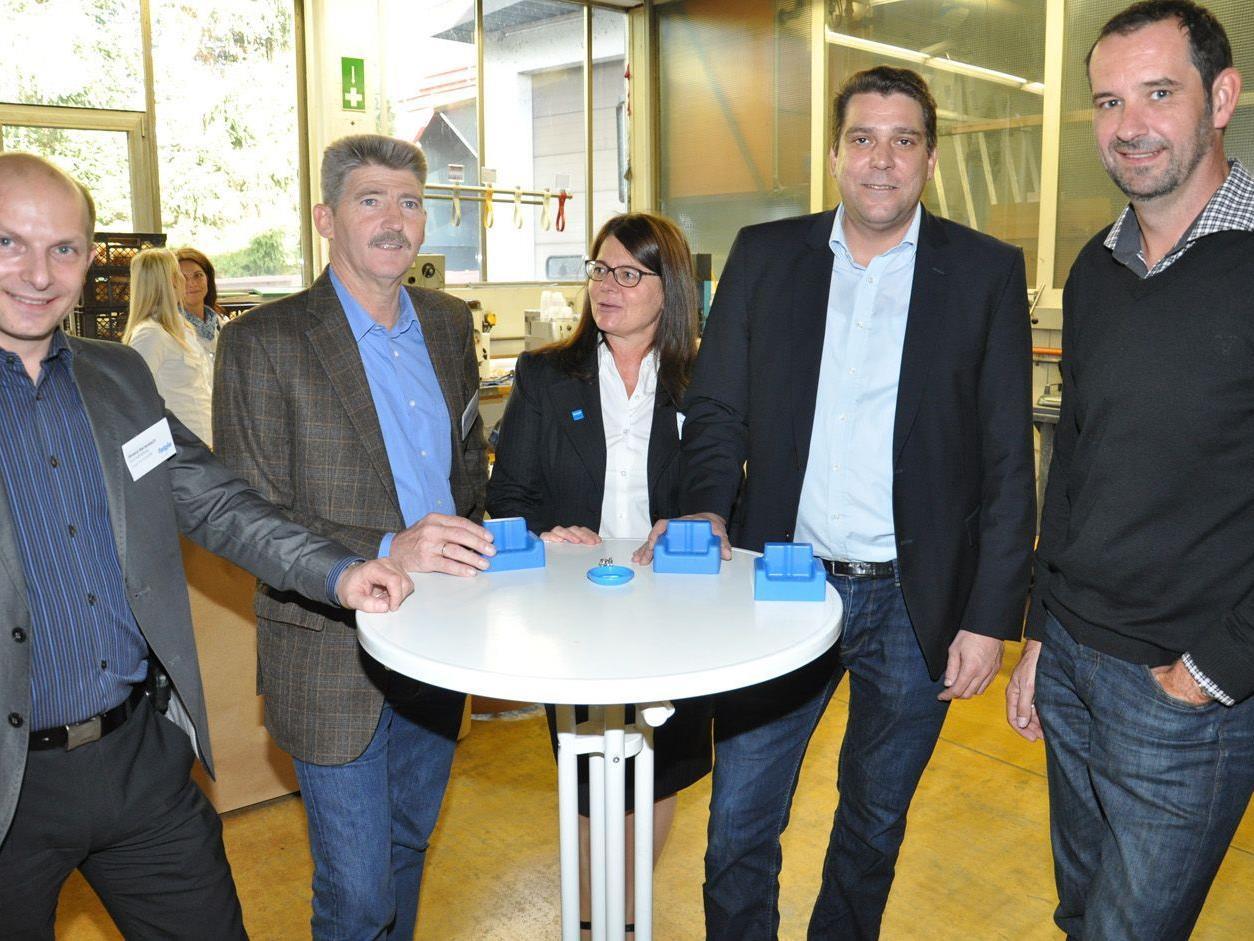 Roland Bartenbach, Wolfgang und Yvonne Faigle, Harald Köhlmeier, Uwe Breuder beim Lehrlingstag.