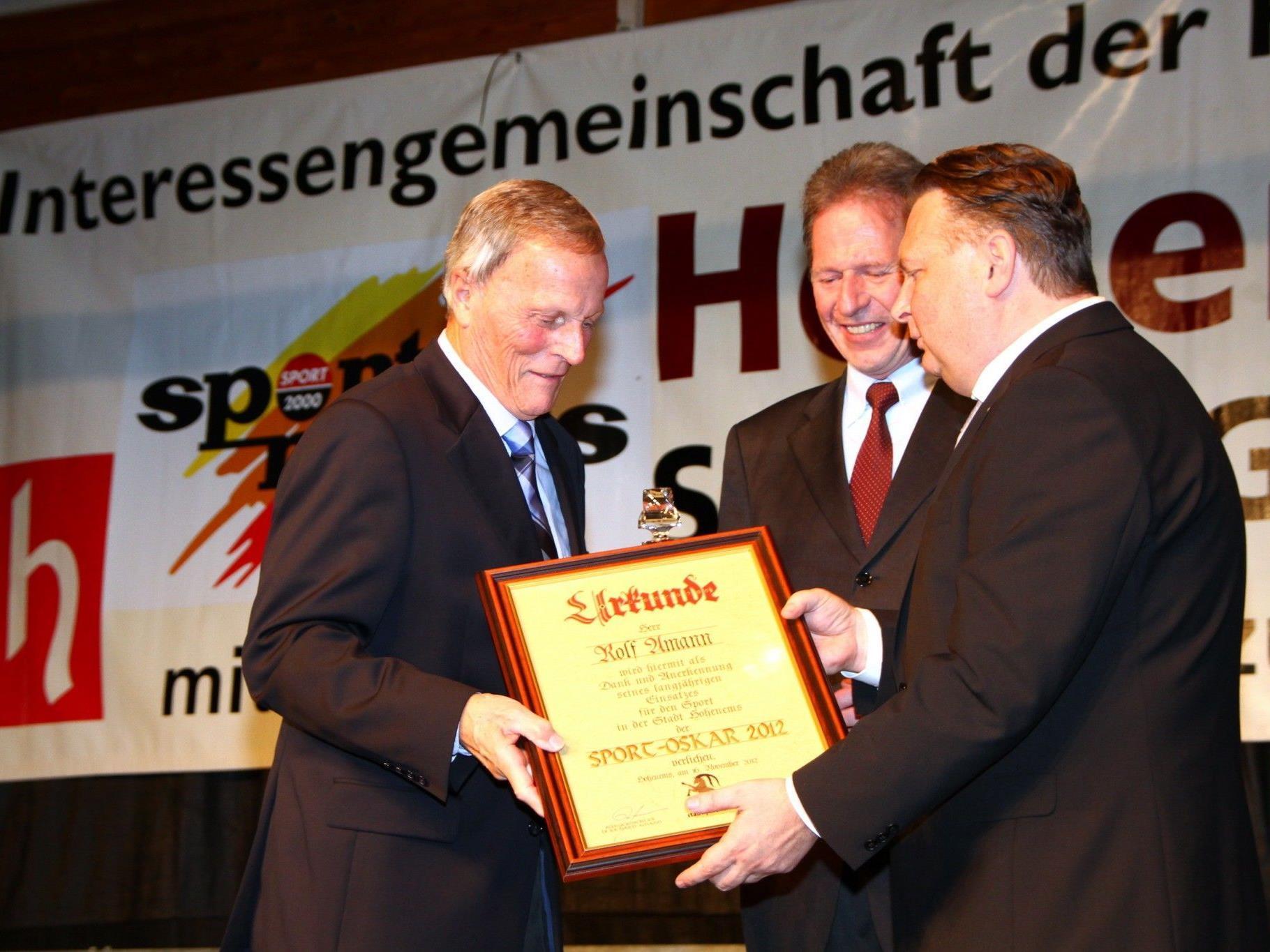 IG-Gründer Rolf Amann erhielt von Bürgermeister Richard Amann und Stadtrat Friedl Dold den