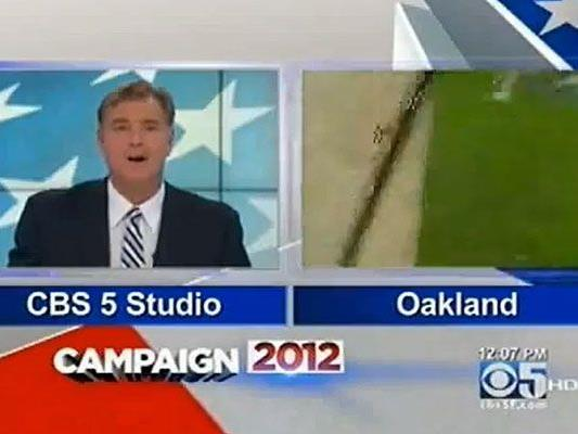 Die Kamera war noch auf Sendung und brachte den Überfall live ins Fernsehen.