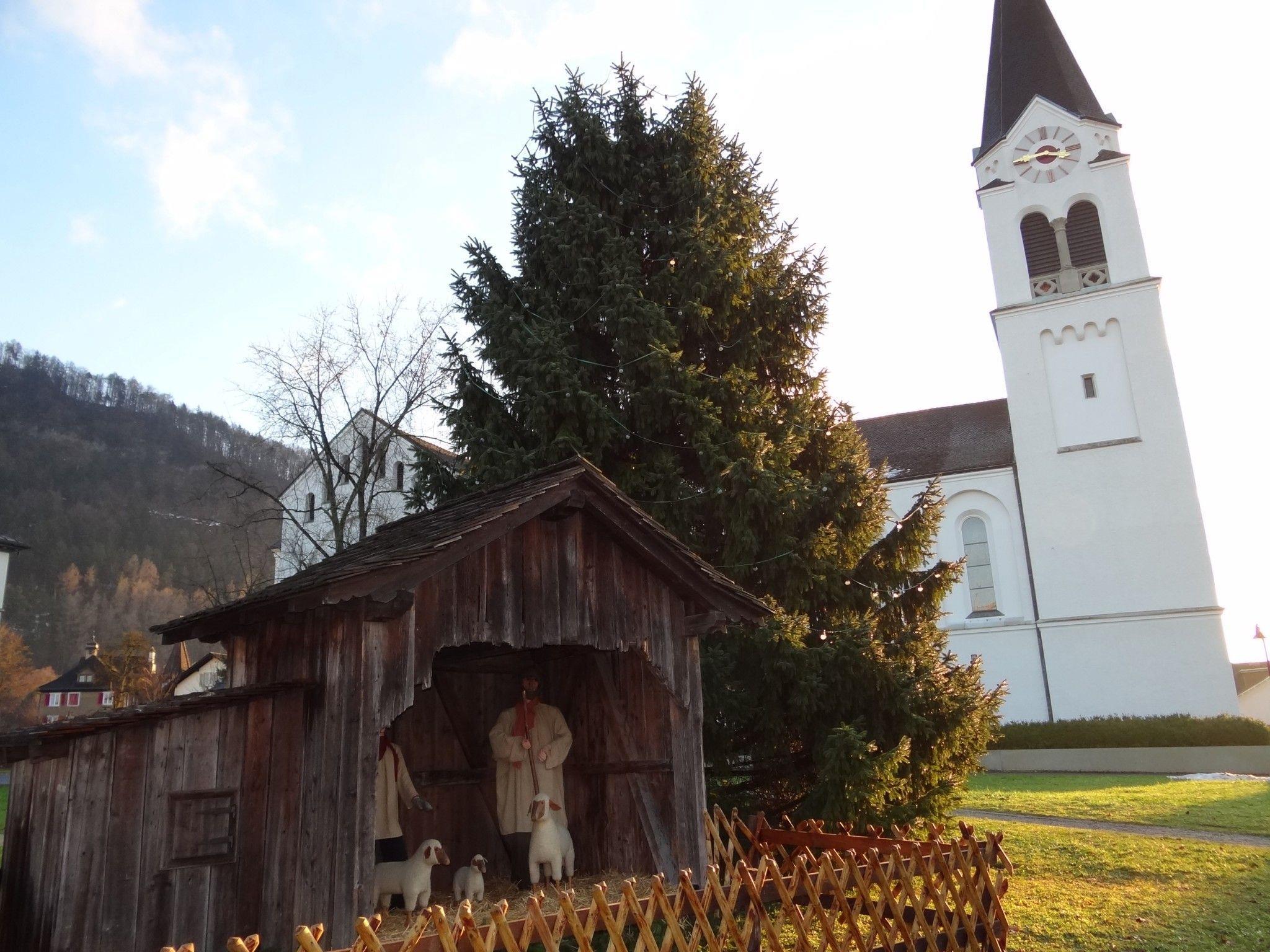 """In Götzis läuft es """"rund"""" - der Christbaum neben der Pfarrkirche als Dorfgespräch"""