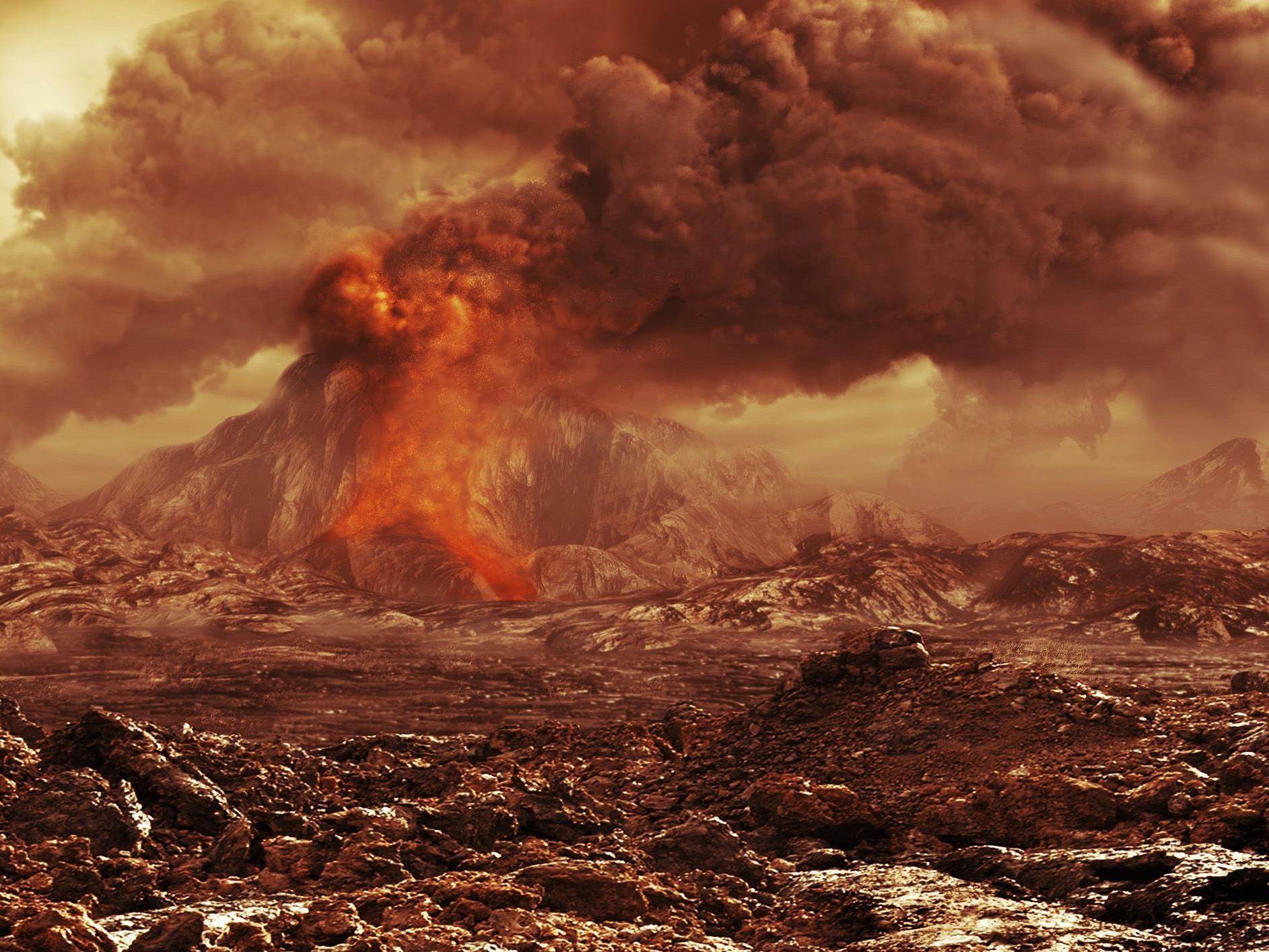 Illustration eines aktiven Vulkans auf der Venus.