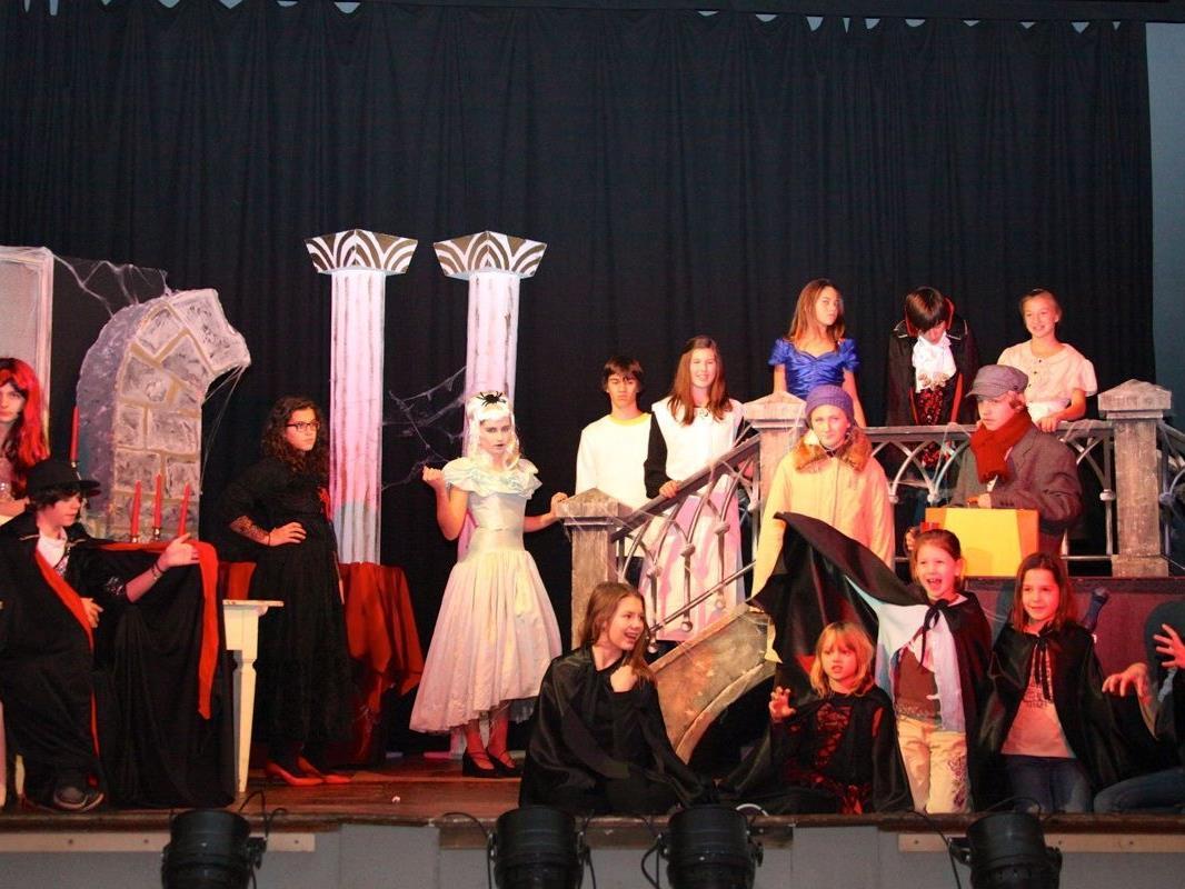 16 Kinder und Jugendliche agieren bei diesem Stück auf der Bühne im Göfner Vereinshaus.