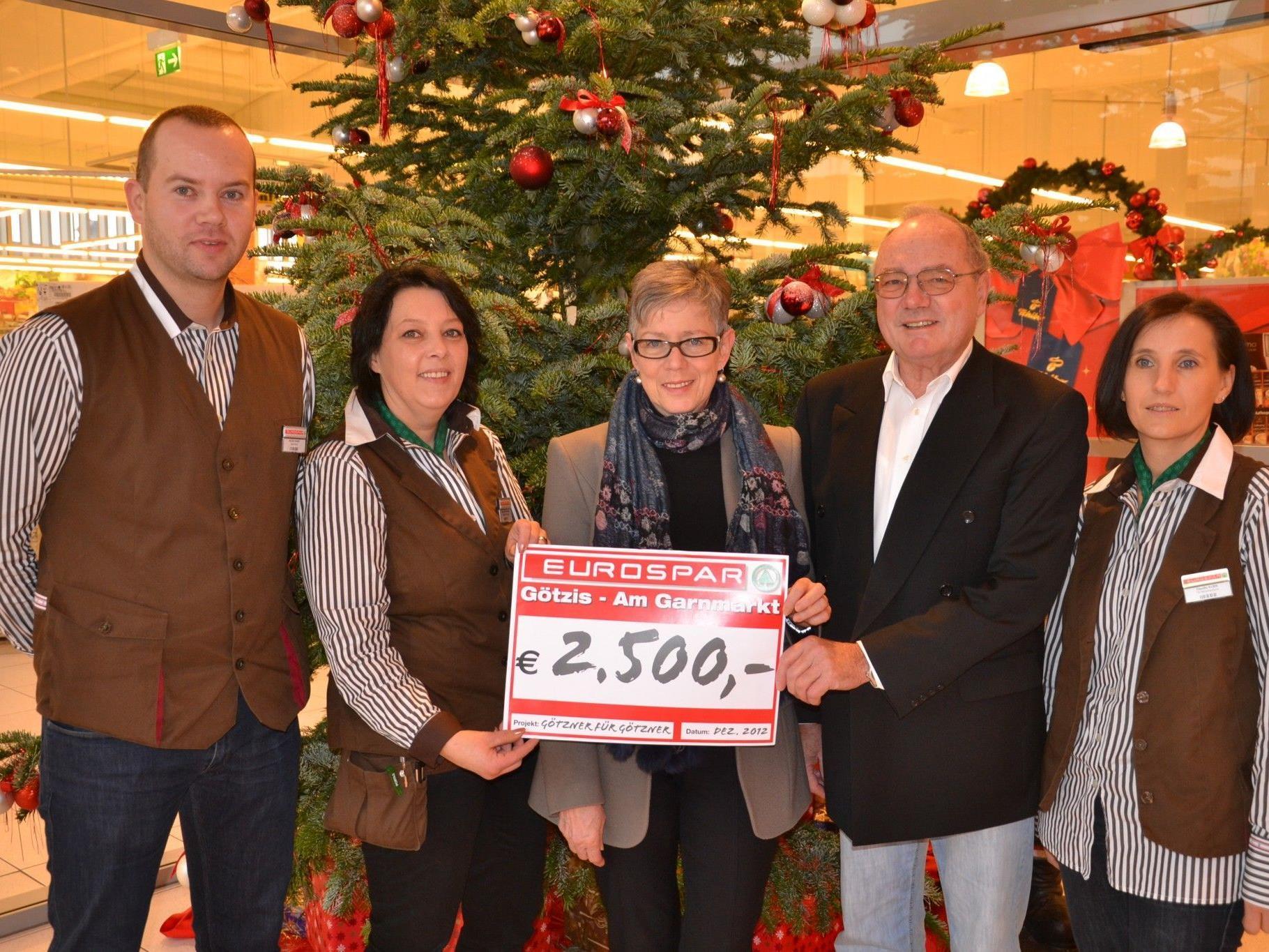 (v.l.) Eurospar Marktleiter Dejan Maric, Sabine Beutelmayr, Maria Müller, Josef Hotz (Götzner für Götzner) & Claudia Klien