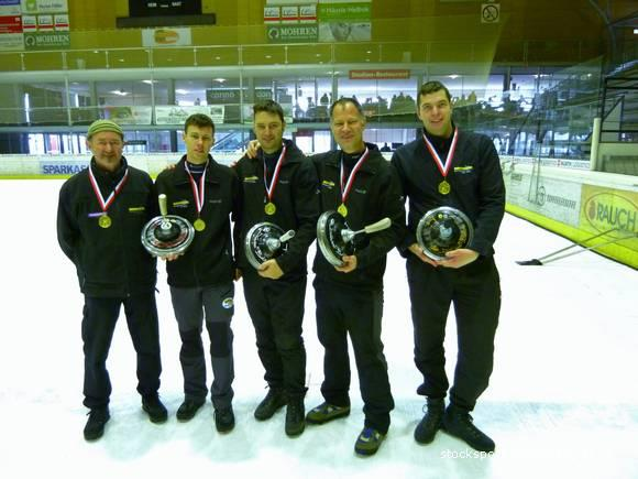 Das Lochau-Quartett holte sich in Dornbirn den Landesmeistertitel im Eisstocksport.