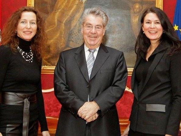 Mercedes und Franziska Welte mit Bundespräsident Fischer in Wien.
