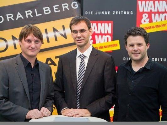 LH Markus Wallner mit VOL.AT-CR Marc Springer und W&W-Herausgeber/CR Mario Oberhauser.