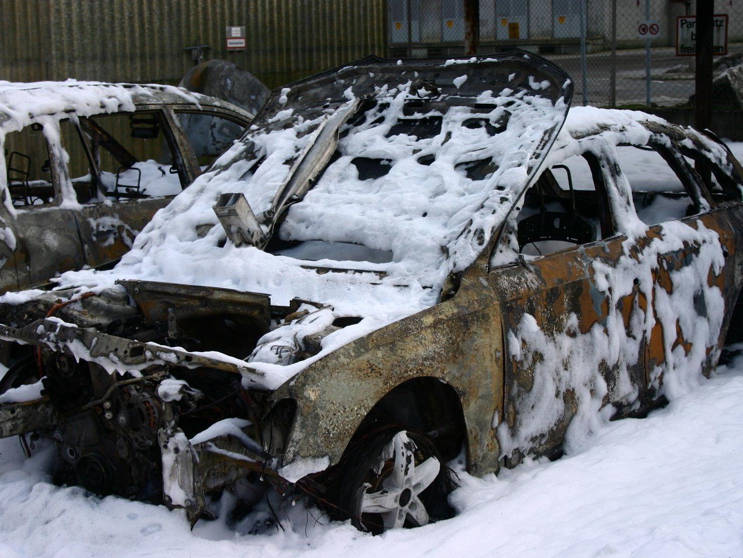 Fünf Fahrzeuge brannten komplett aus.