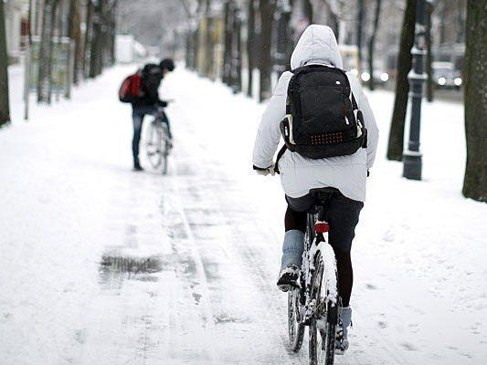 Viele Radfahrer in Wien lassen sich auch von Kälte und Schnee nicht von ihrem liebsten Transportmittel abbringen