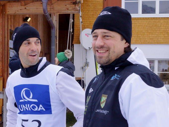 Erfolgscoach Helgi Kolvidsson und Harald Dürr nahmen am Promi-Biathlon in Au natürlich auch teil.