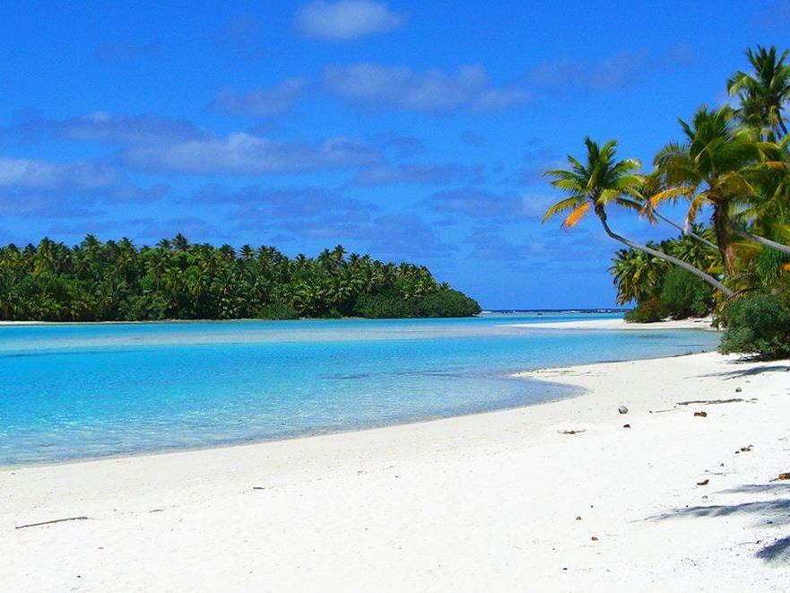 One Foot Island / Aitutaki Atoll, Cookinseln: Nur mit einem Boot kann dieses Fleckchen Erde in der Südsee erreicht werden.