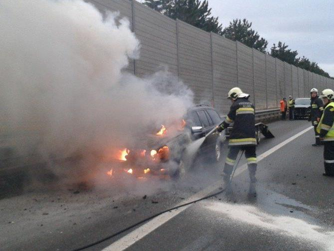 Auf der A 21 brannte am Sonntag ein Pkw vollkommen aus.