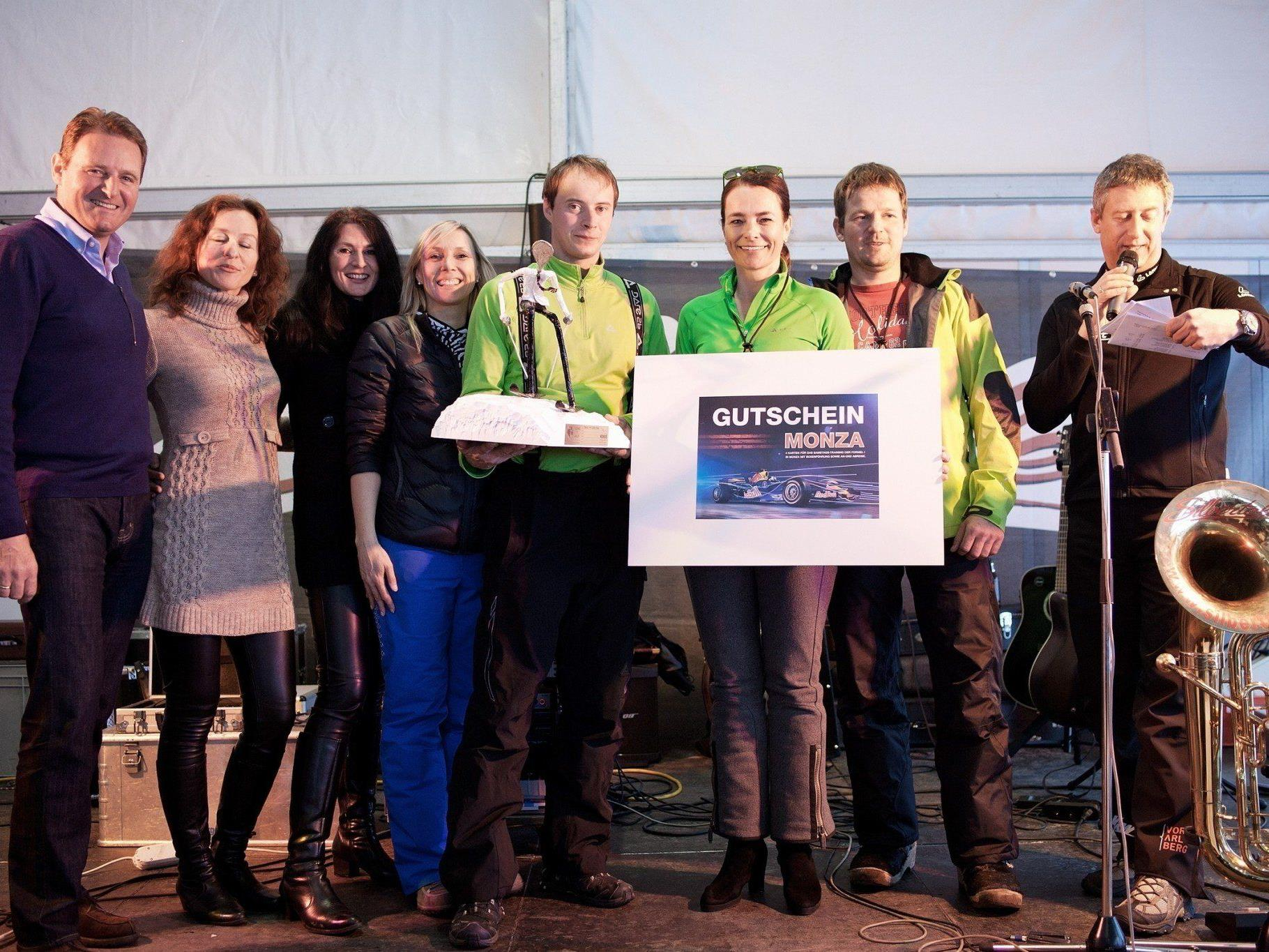 Sieger Durchschnittswertung Holzbau Fetz mit Waltraud Fetz, Michael Fetz, Stefan Greber, Peter Meusburger;