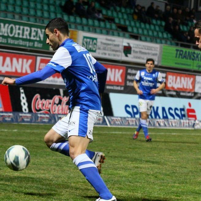 Dursun Karatay schoss das Goldtor für den FC Lustenau, aber wurde dann ausgeschlossen.