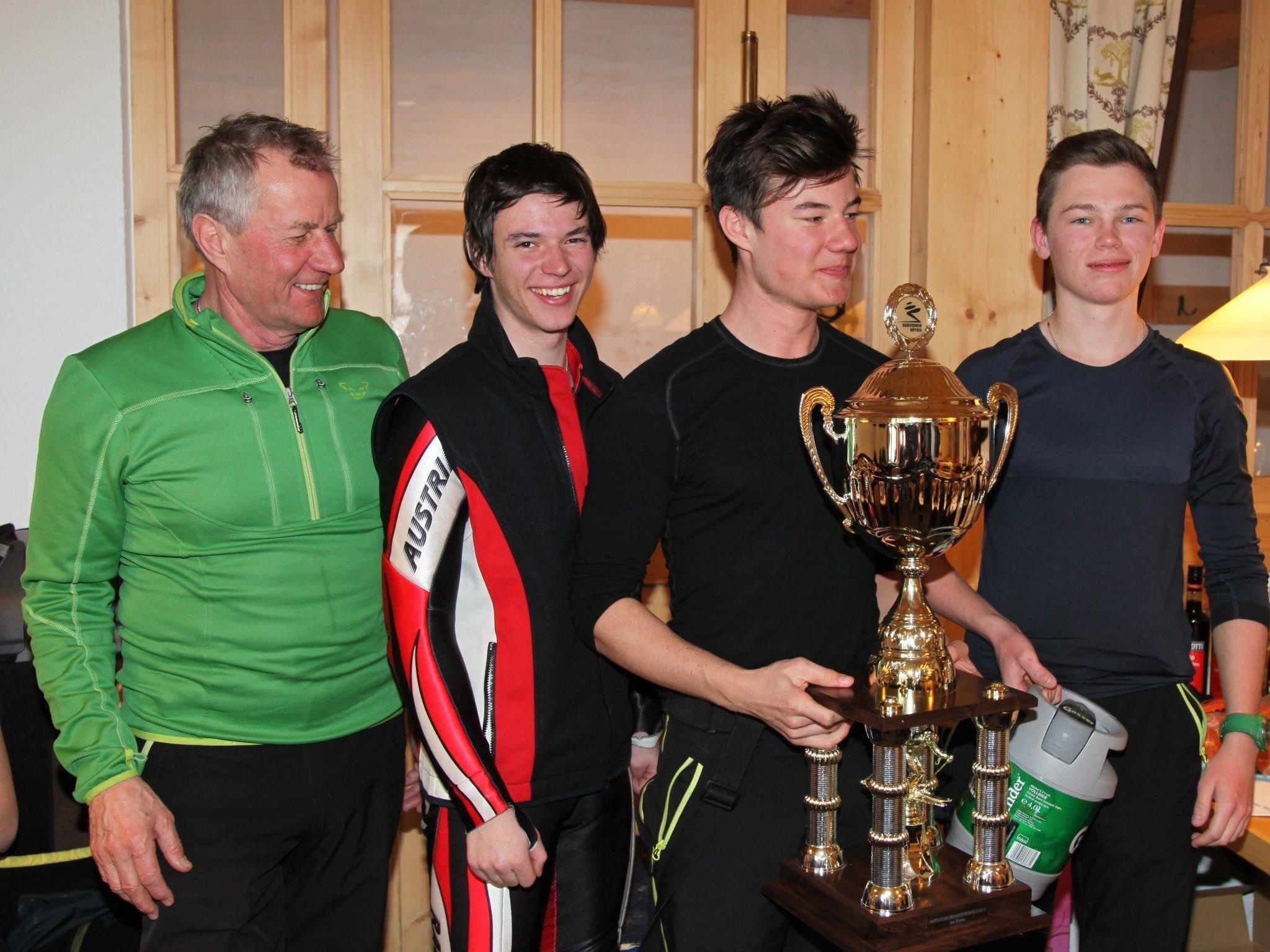 Siegreiches TC Götzis Team: Günther Schwarzl, Kevin Oberhauser, Daniel Kaufmann und Philipp Hadler