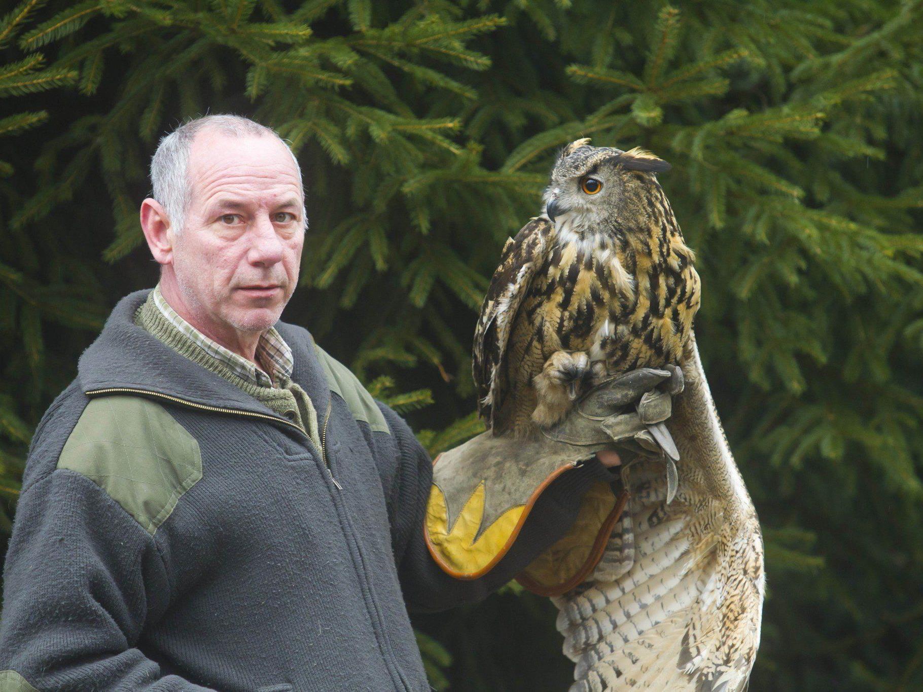 Reinhard Hellmair mit seinem Uhu, der keine Krähen mehr jagen darf.
