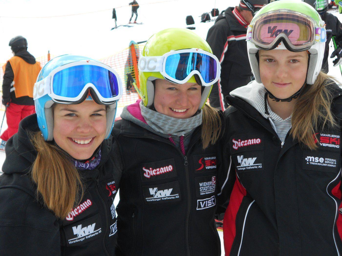 Laura, Vanessa und Sophia - von Nervosität am Start keine Spur ...