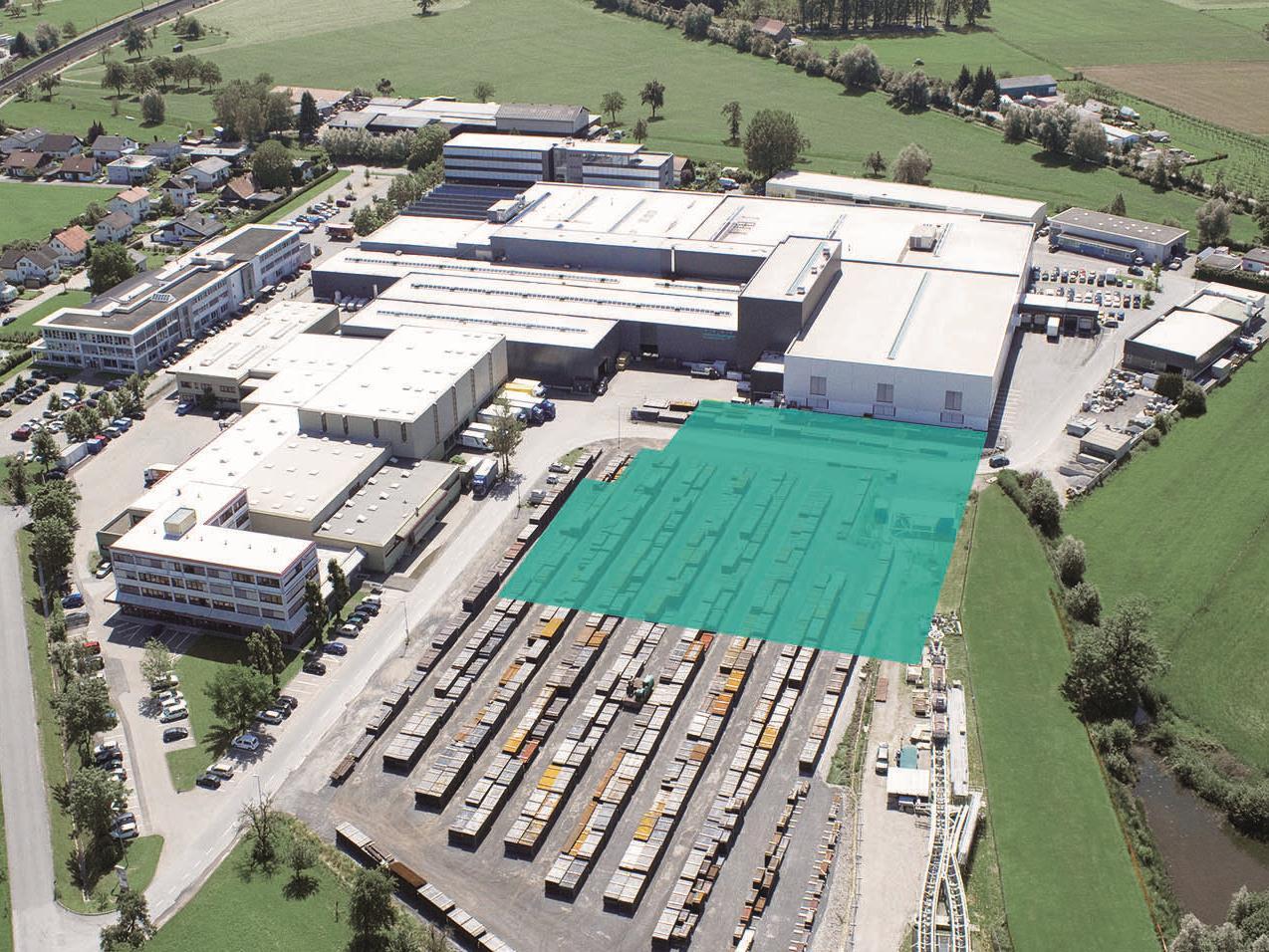 Betriebsgelände Firma Meusburger mit geplanter Standorterweiterung