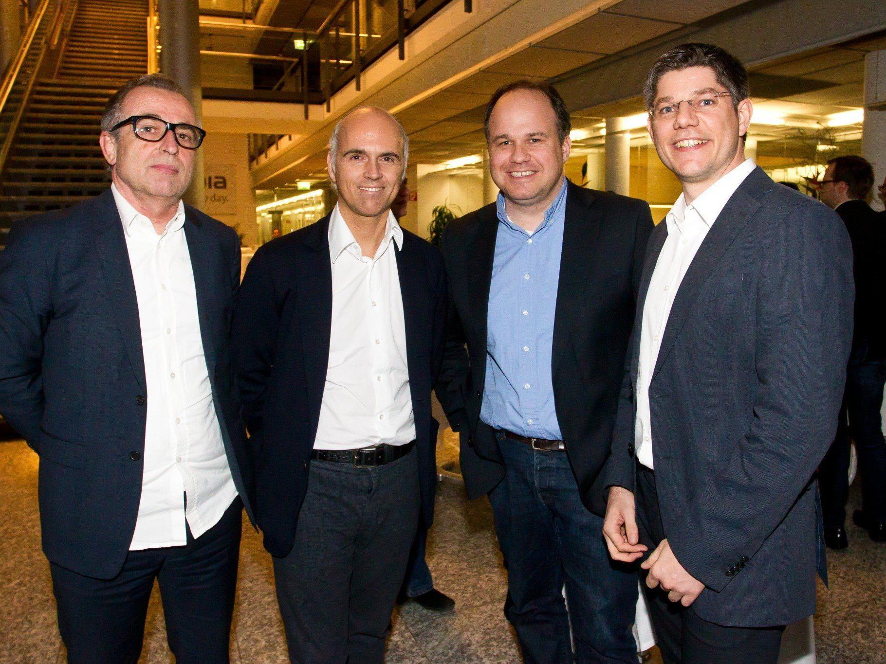 Gerard Hann (VN Key Account), Rudi Kobza (Lowe GGK), Gerold Riedmann (Russmedia) und AdWin-Organisator Simon Ender (v. l.).