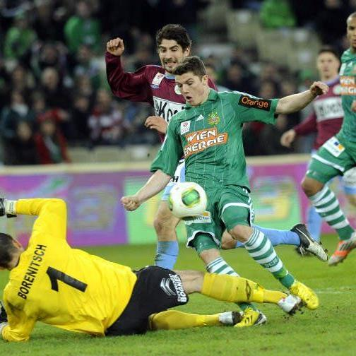 Rasante Partie am Samstag: Rapid Wien gegen Mattersburg.