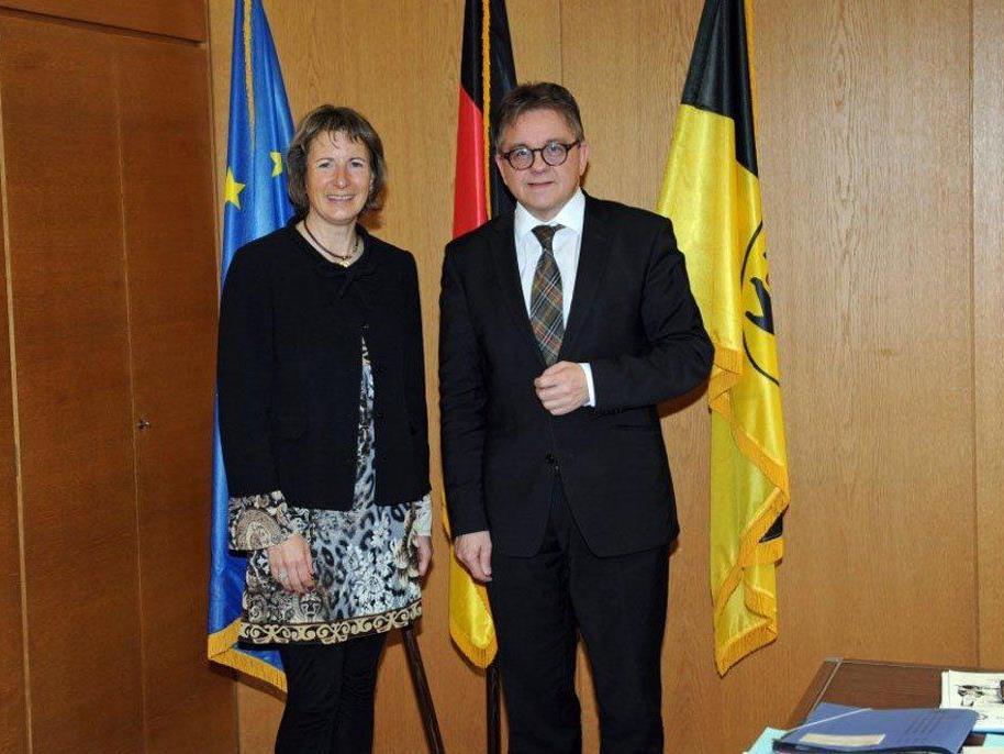 Landtagspräsidentin Nußbaumer auf Antrittsbesuch beim baden-württembergischen Landtagspräsidenten Guido Wolf in Stuttgart.