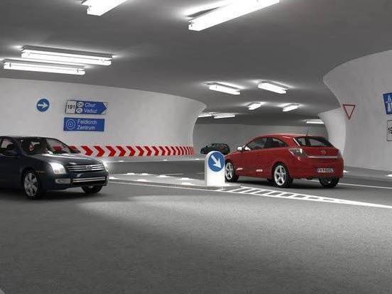 Die vier Tunneläste des Stadttunnels werden mit einem unterirdischen Kreisverkehr verbunden. - © feldkirch.at
