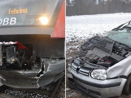 Am Dienstagmorgen wurde in Haderswörth ein Pkw von einem Zug erfasst.