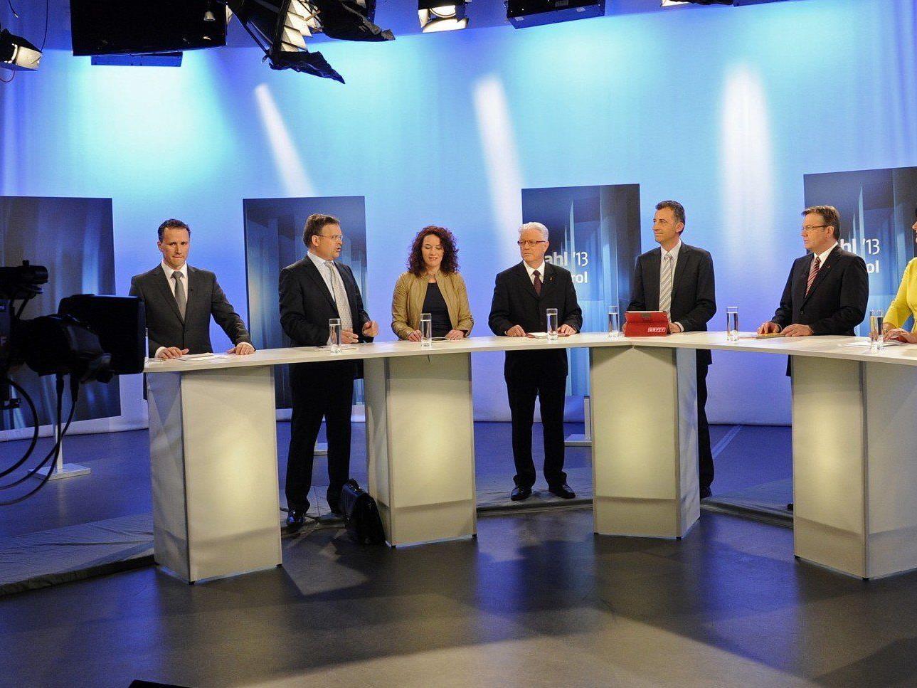 Die Tiroler Spitzenkandidaten bei einer TV-Debatte.