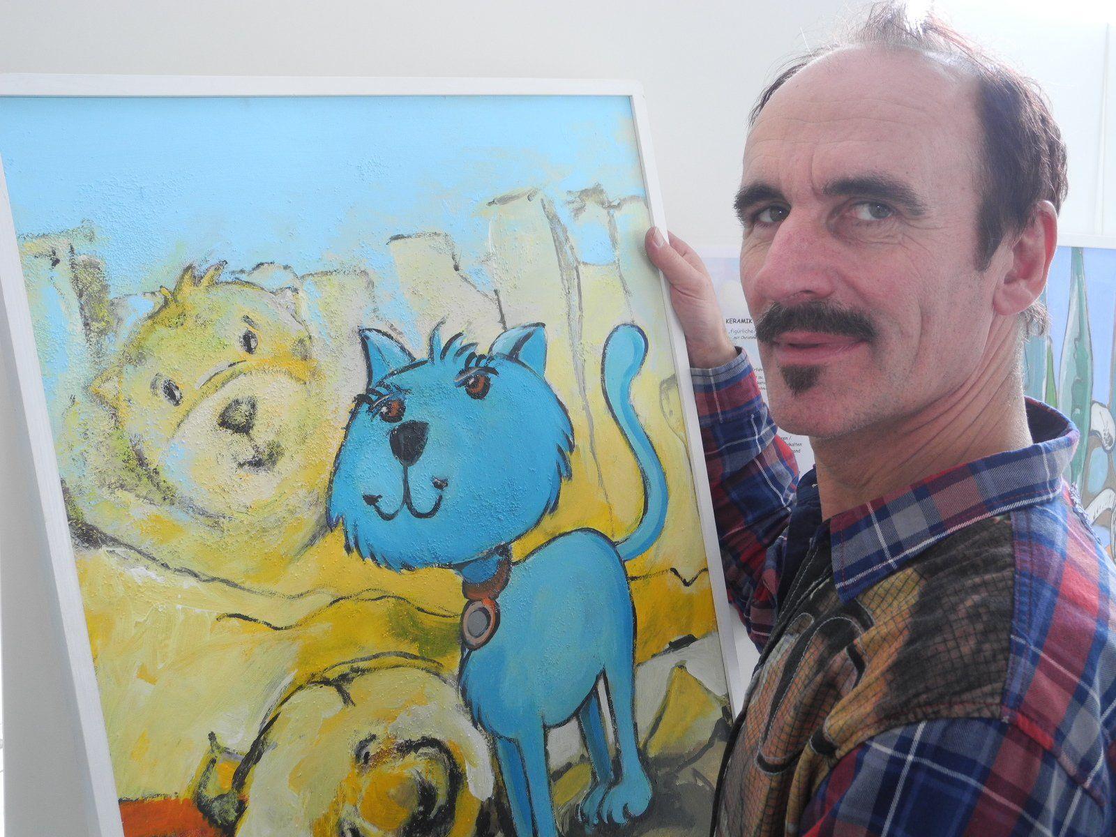 LEX alias Hans Schwärzler zeigt seine Werke im Foyer des LKH Feldkirch