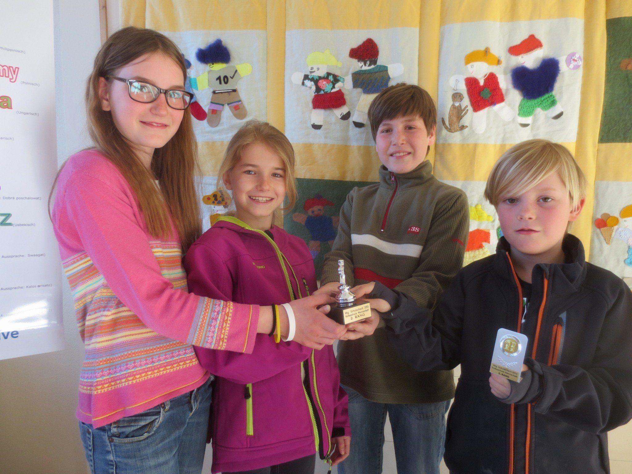 Das Team der Volksschule Lochau mit Edith Scheil, Antonia Feigl, Josef Scheil und Jakob Schwarzenbacher holte sich den ausgezeichneten 2. Platz.