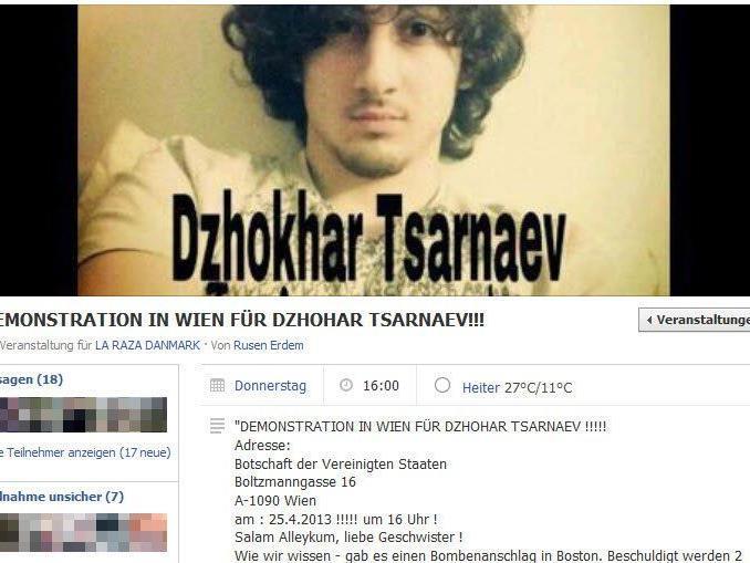 Eine Einladung zu einer Demonstration FÜR den zweiten Verdächtigen von Boston sorgt für Verwirrung auf Facebook.